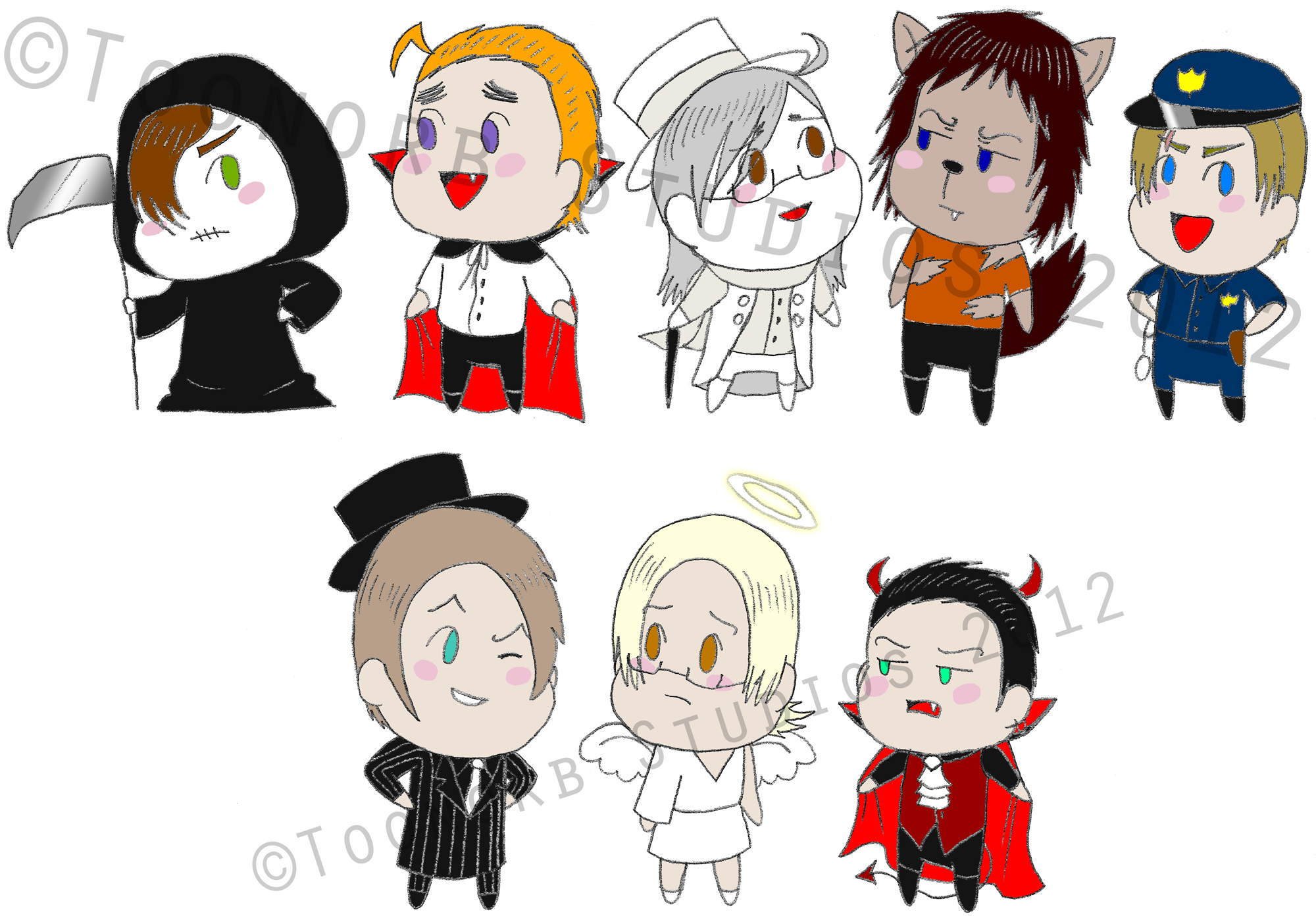 Halloween costumes clipart black and white download Chibi D-KEDA & ZEC In Halloween Costumes | Toonorb Studios download