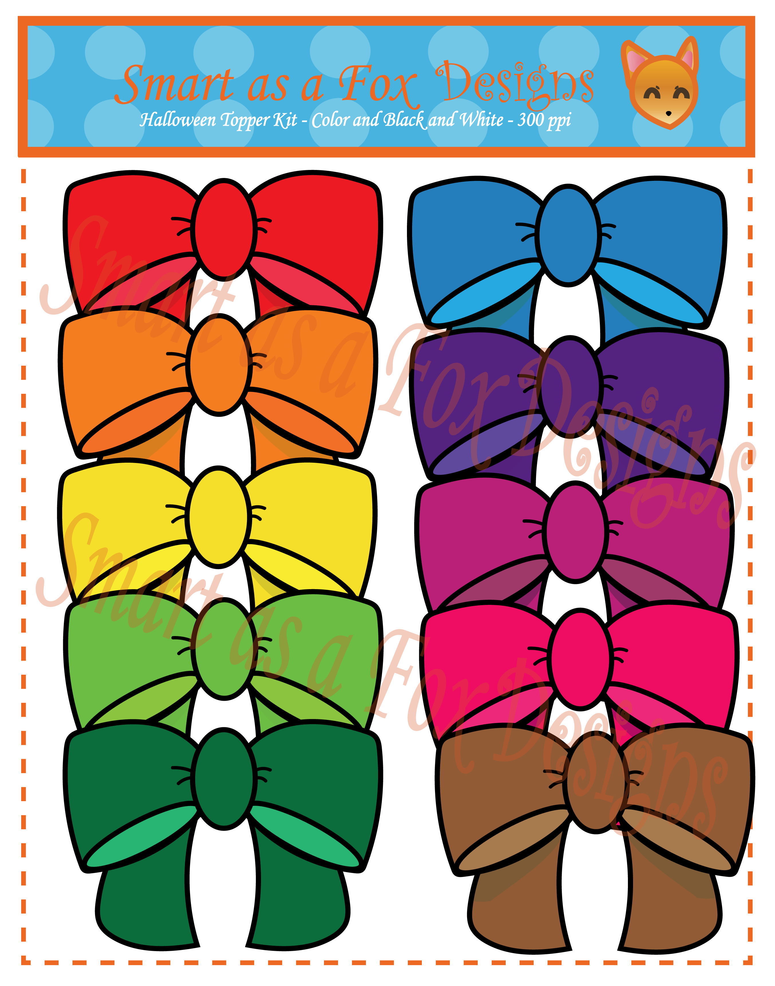 Halloween digital clipart graphic freeuse library Rainbow Bows Digital Clipart
