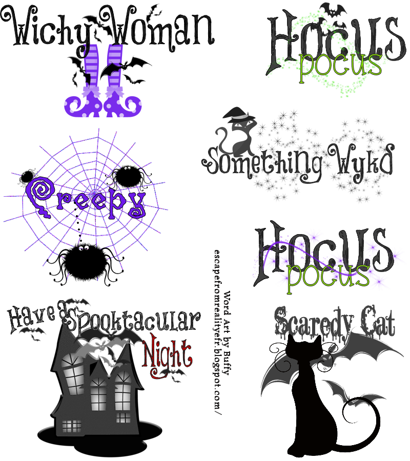 Halloween word clipart jpg free download FTU Halloween Word Art by Buffy Many of the images used are clip art ... jpg free download