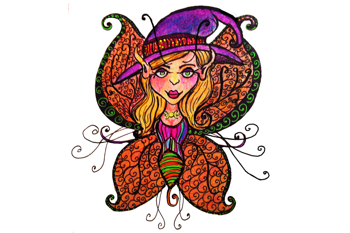Halloween fairy clipart jpg transparent download Hand Drawn Clip Art Day of the Dead and Halloween Fairies by Candita ... jpg transparent download