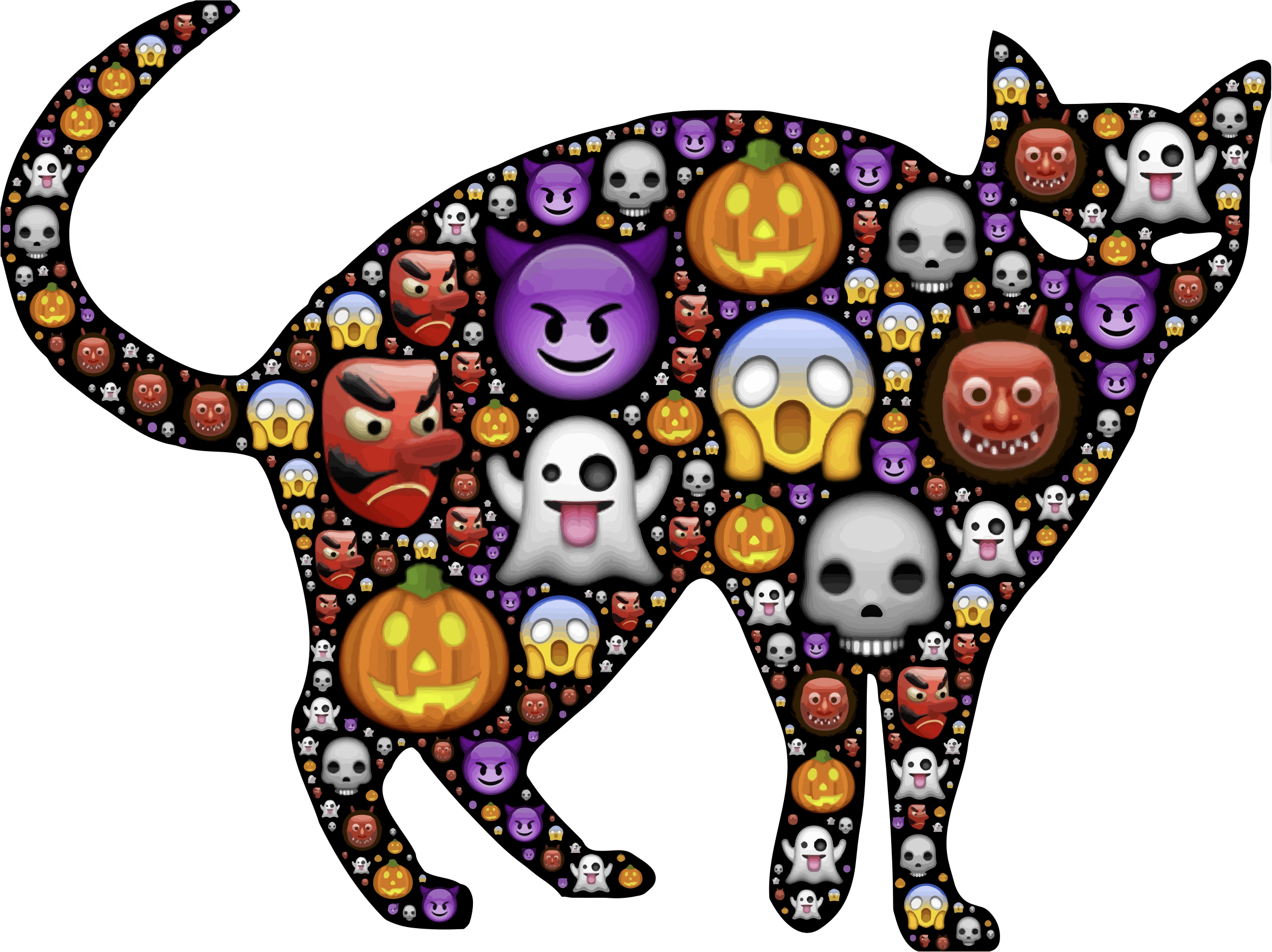 Halloween games clipart clip art black and white stock Halloween cats and kittens | Clipart - Colorful Halloween Cat ... clip art black and white stock