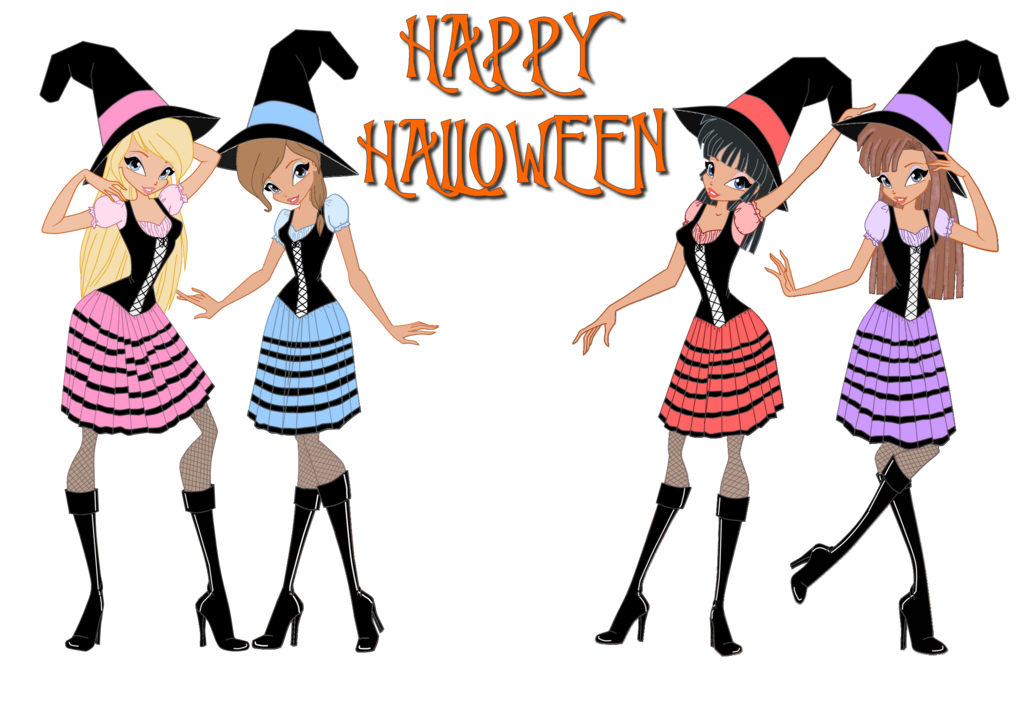 Halloween girls clipart graphic royalty free library WITCH Girls Happy Halloween by nici18 on DeviantArt graphic royalty free library
