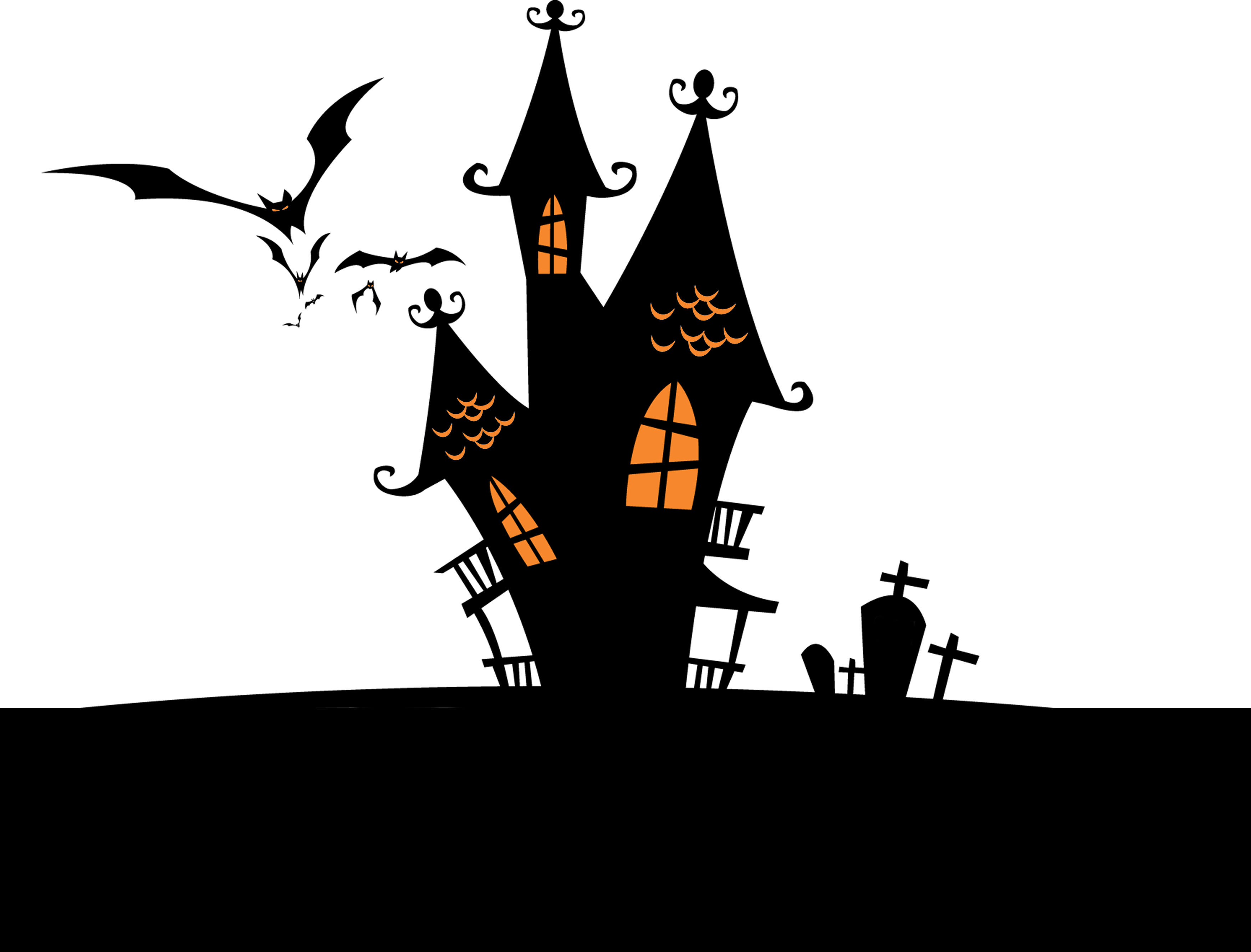 Halloween house silhouettes clipart png black and white library Halloween Bats Facebook Wallpaper - Halloween house 3508*2671 ... png black and white library