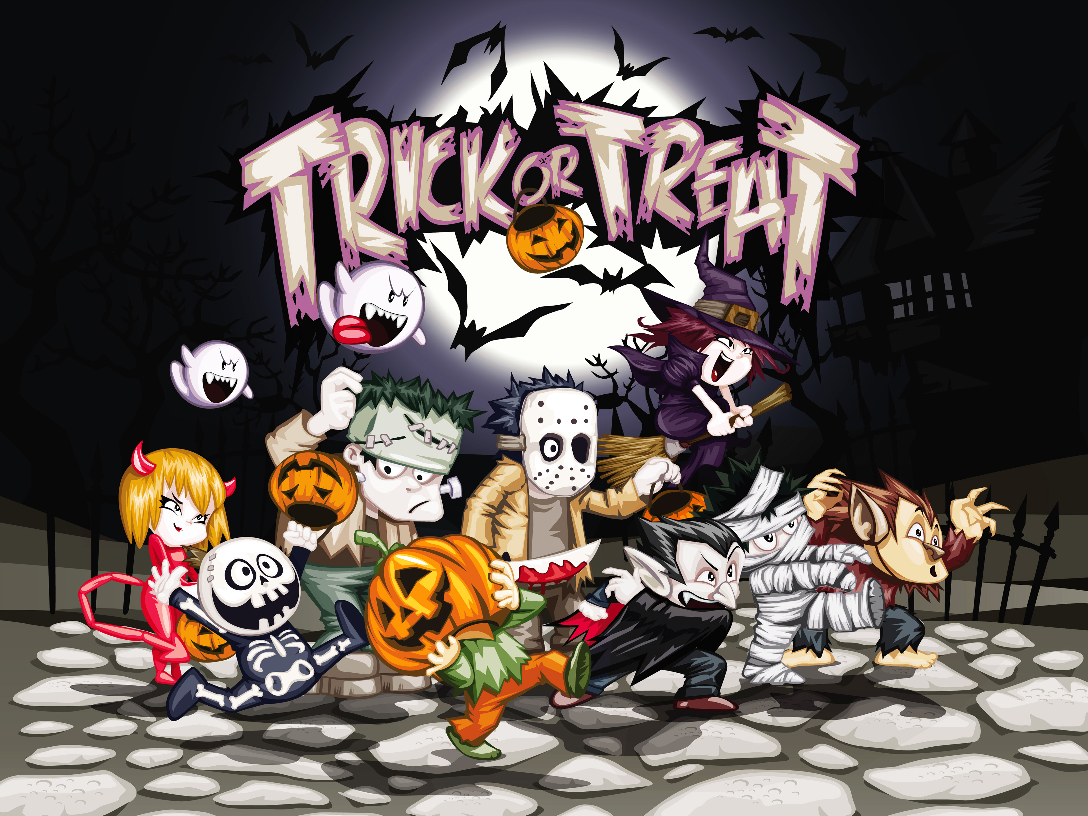 Halloween kids trick or treat free clipart clipart royalty free Halloween Trick or Treat Background | Gallery Yopriceville - High ... clipart royalty free