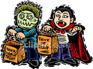 Halloween kids trick or treat free clipart image library download Two Kids Trick-or-treating In Halloween Costumes Royalty Free ... image library download