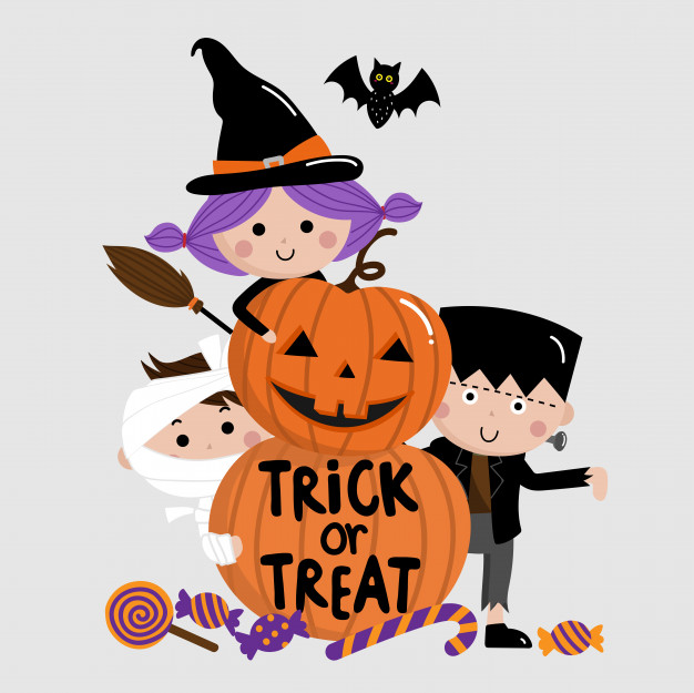 Halloween kids trick or treat free clipart clip black and white download Halloween, trick or treat, kids and pumpkin Vector | Premium Download clip black and white download