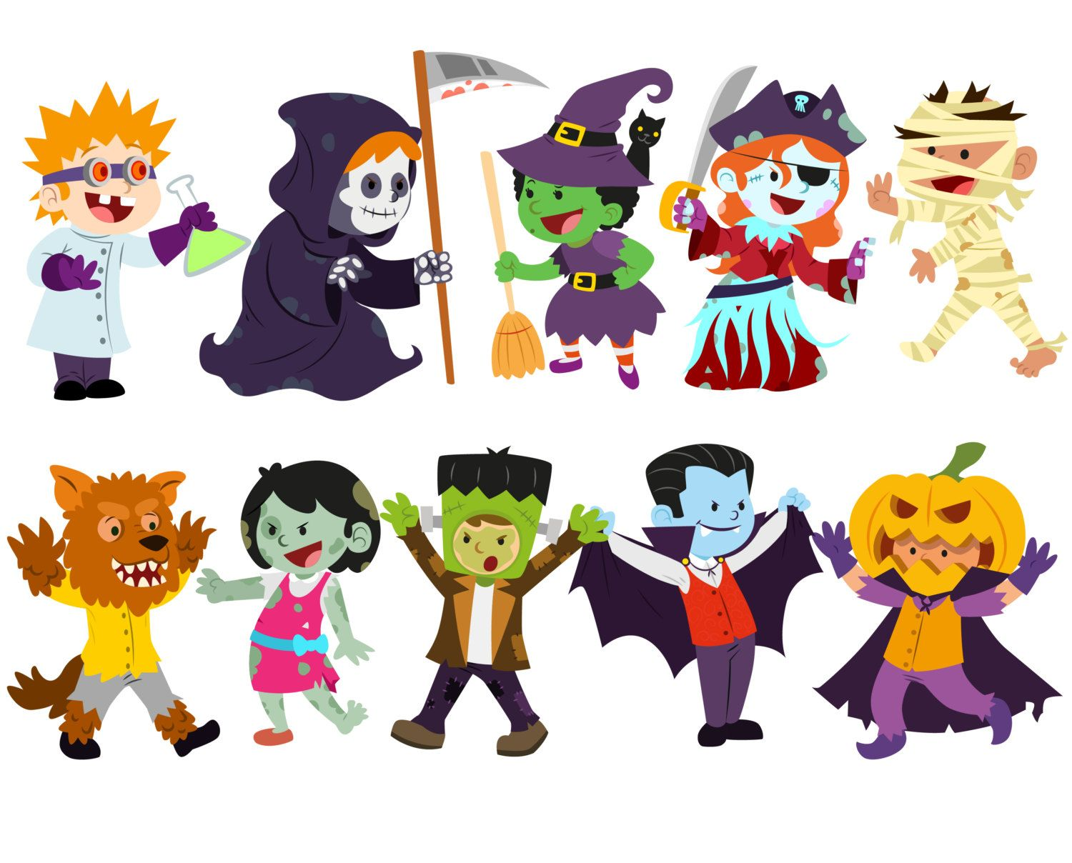 Halloween kids trick or treat free clipart graphic transparent Halloween clipart Costume clipart Halloween kids by VectorWizard ... graphic transparent