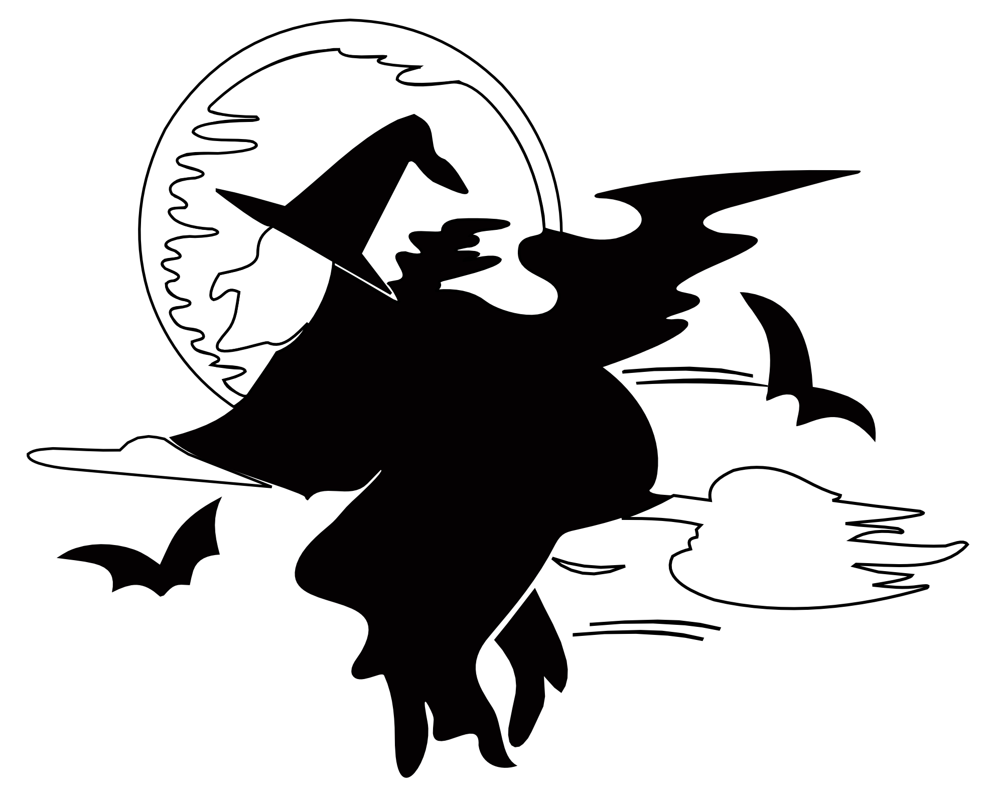 Halloween moon clipart black and white image transparent download clipartist.net » Clip Art » Lakeside Witch over Harvest Moon Black ... image transparent download
