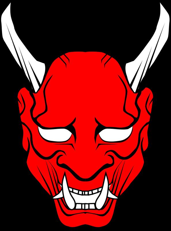 Halloween ninja mask clipart banner hannya vector | Free cliparts: Red Oni mask clipart | Oni Masks ... banner