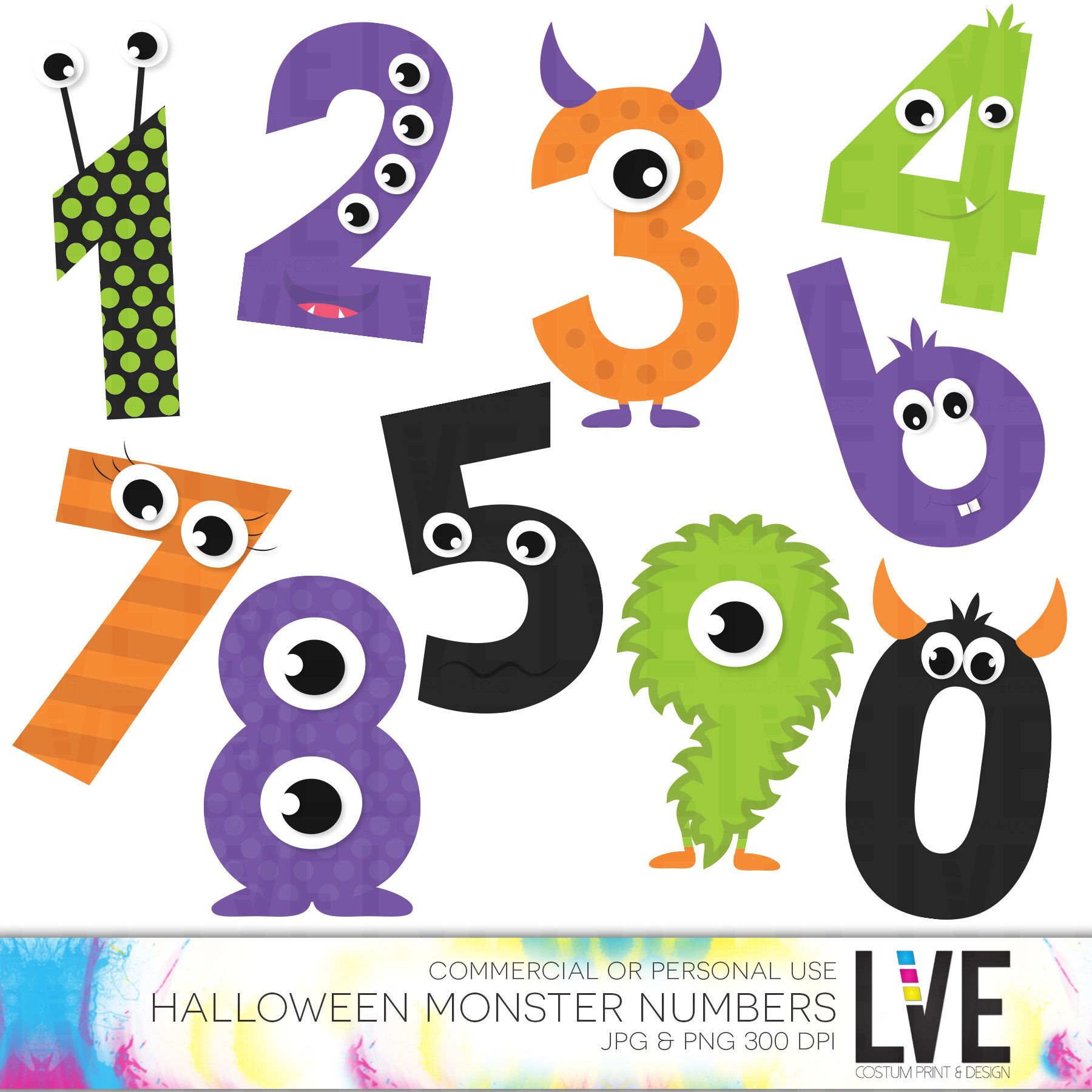 Halloween numbers clipart banner black and white download Cute Monsters Numbers Clip Art Halloween Clipart Monster Clipart ... banner black and white download