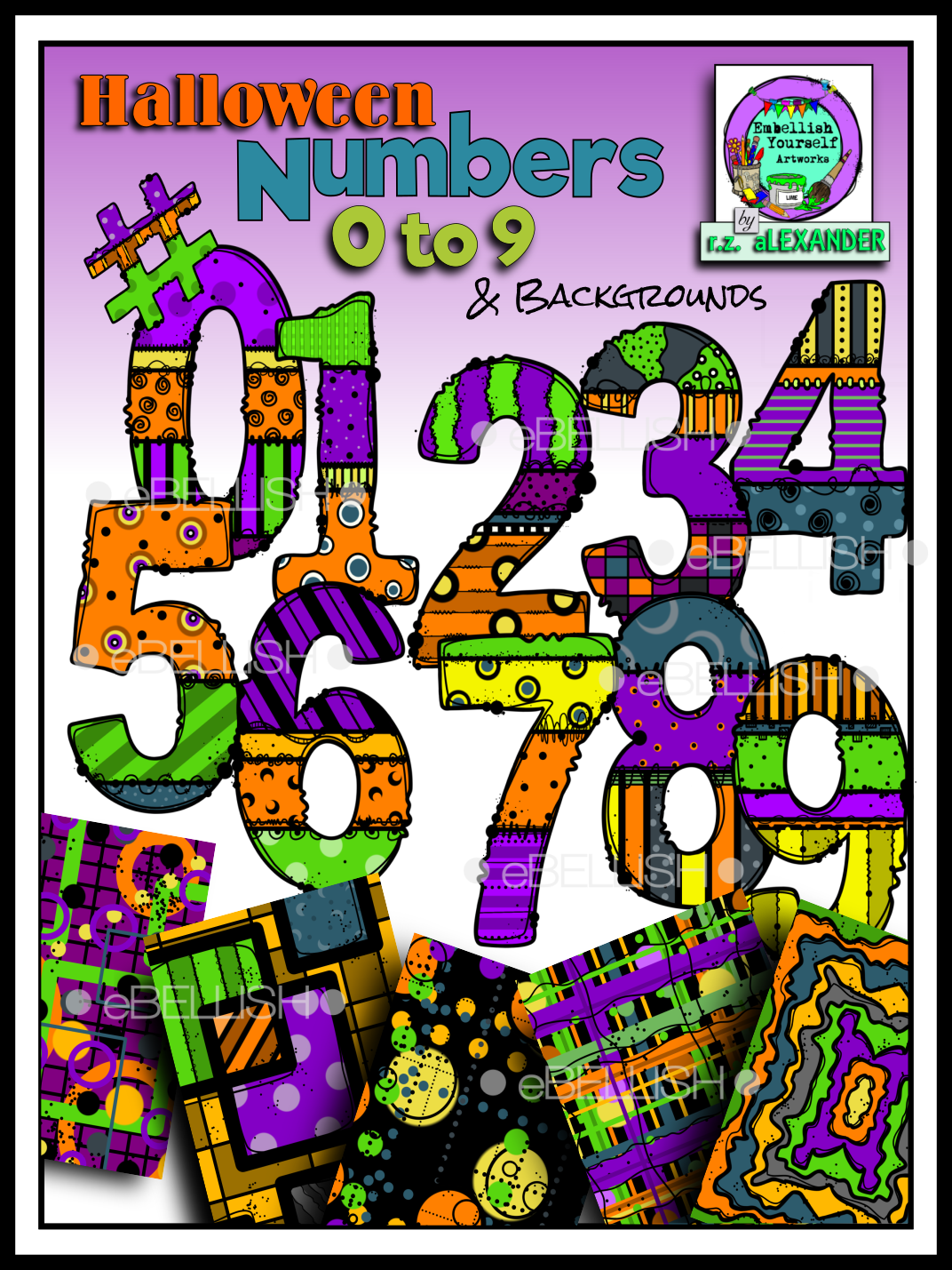 Halloween numbers clipart picture transparent Halloween Numbers (0-9) & Backgrounds   AWESOME clip art and fonts ... picture transparent