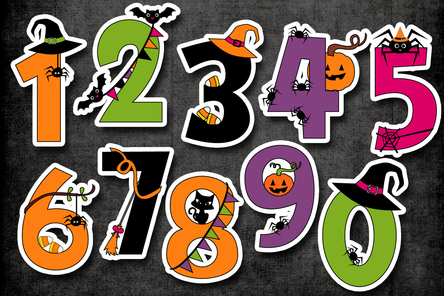 Number graphics clipart image royalty free Halloween numbers clipart graphic illustrations image royalty free