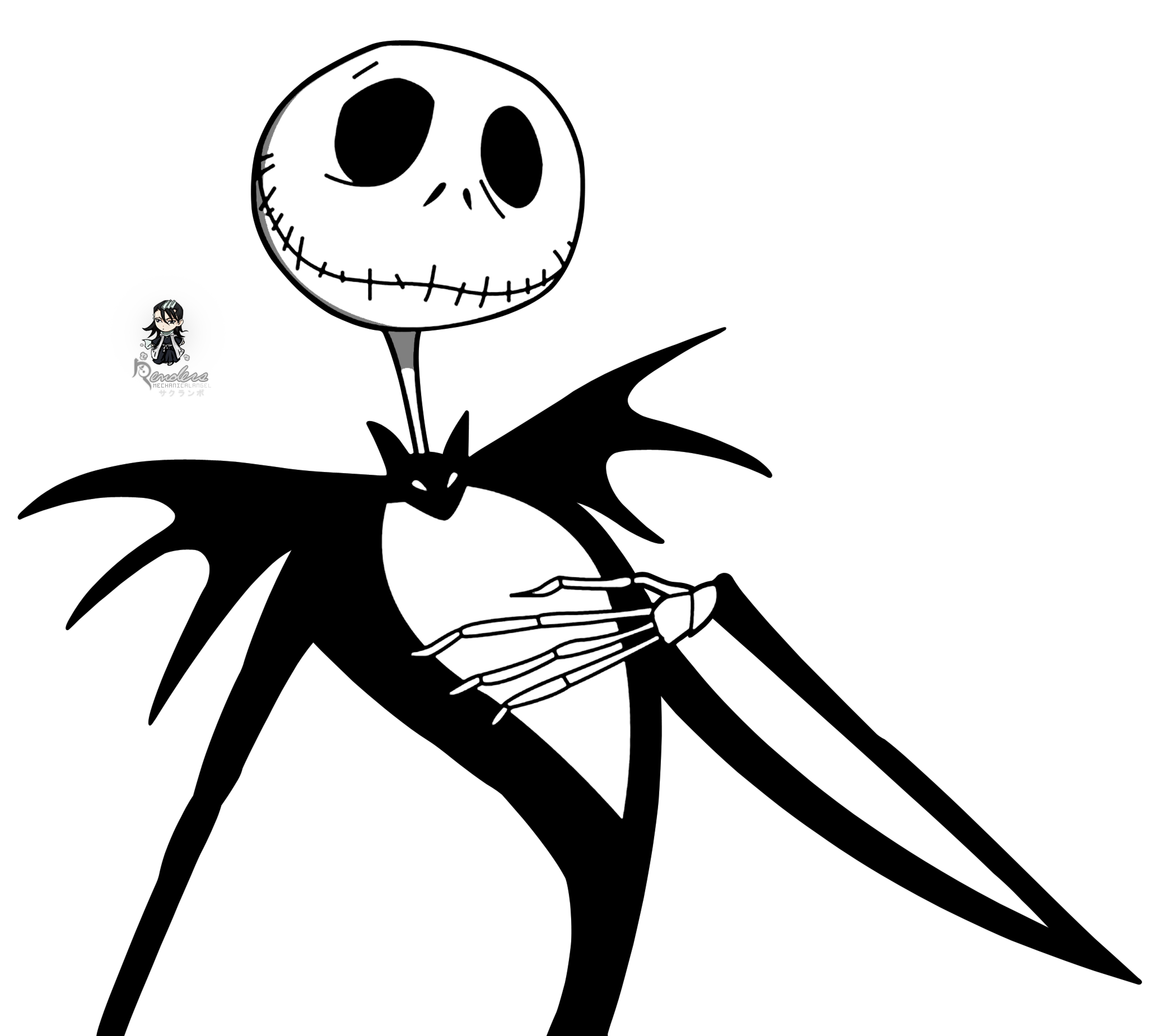 Nightmare before christmas clipart black and white svg black and white stock Nightmare Before Christmas Silhouette | Render the nightmare before ... svg black and white stock