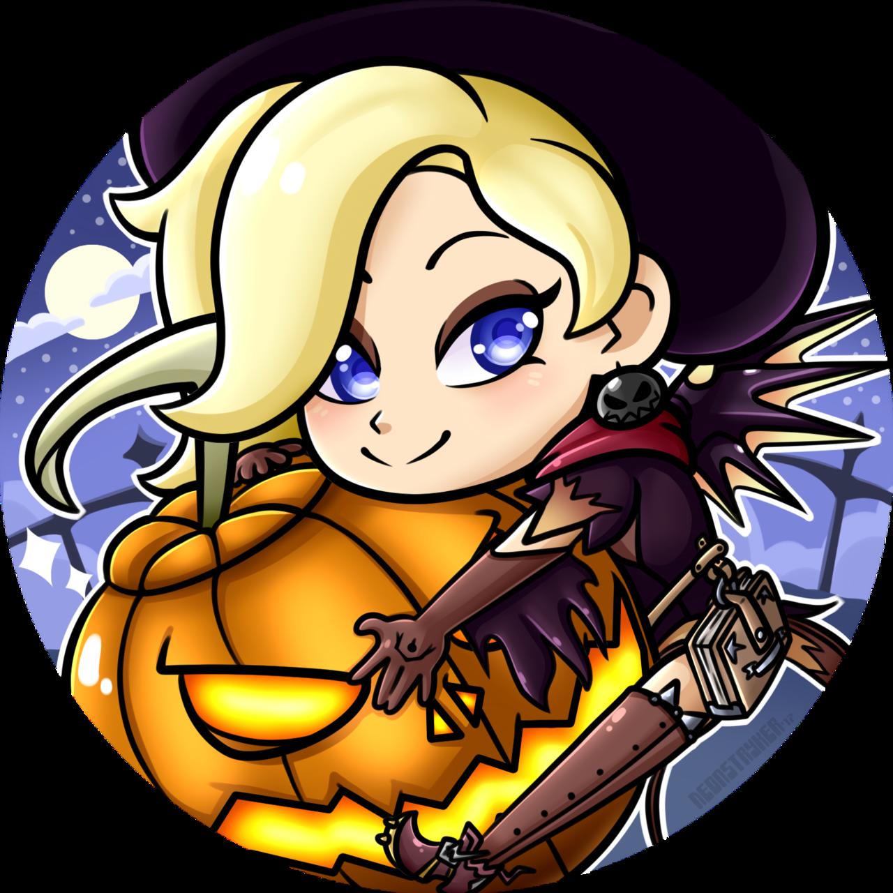 Neon pumpkin clipart clipart Halloween Mercy Icon by NeonStryker on DeviantArt clipart