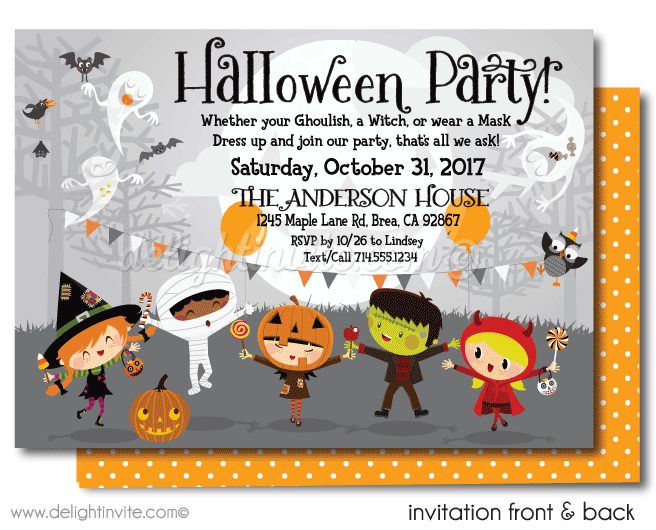 Kids halloween card transparent clipart clip library stock Kid-Friendly Halloween Party Invitations [DI-10405FC] : Harrison ... clip library stock