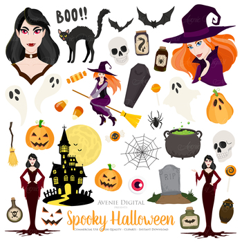 Halloween patterns clipart image black and white stock 81 Spooky Halloween Clipart. Fall Scrapbook printables Trick or Treat  Graphics image black and white stock