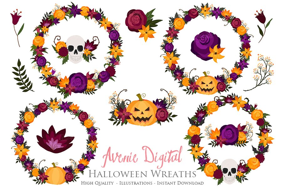 Halloween patterns clipart picture library library Halloween Flower Wreath Clipart picture library library