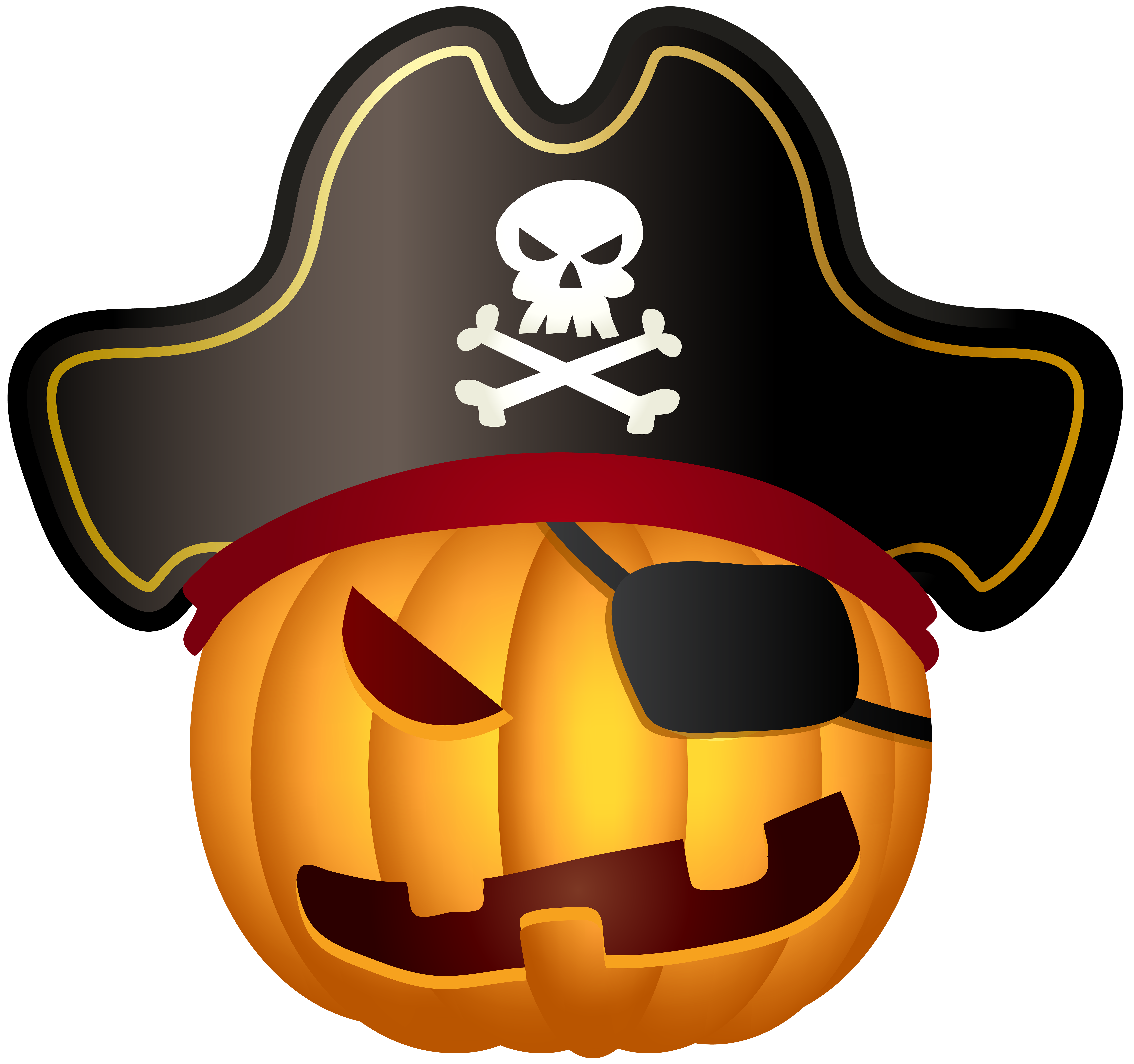 Pumpkin pirate clipart graphic black and white Halloween Pirate Pumpkin PNG Clip Art Image | Gallery Yopriceville ... graphic black and white