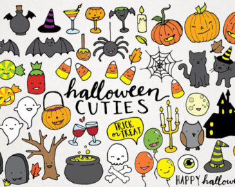 Halloween printable clipart png royalty free download Cute halloween clipart – Etsy png royalty free download