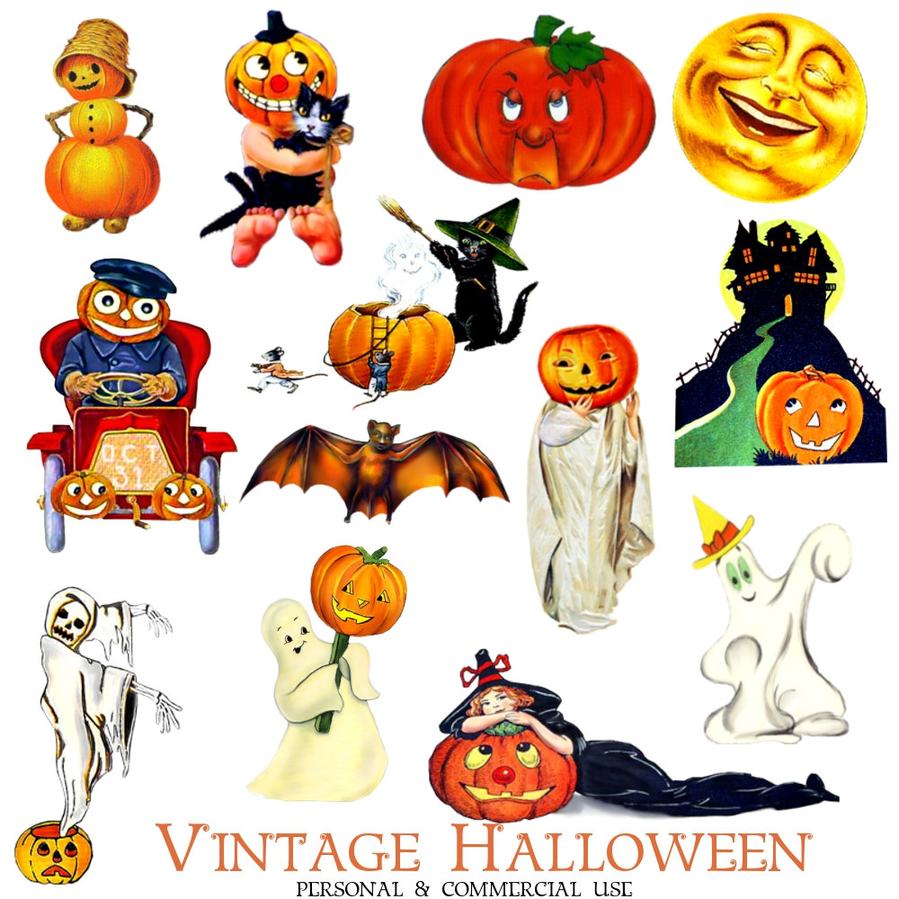 Halloween printable clipart png black and white Vintage Halloween Clipart & Vintage Halloween Clip Art Images ... png black and white