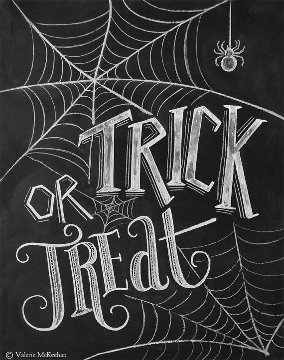 Halloween saying signs clipart black and white clip free library Trick Or Treat Sign - Halloween Chalkboard Art - Halloween Decor ... clip free library