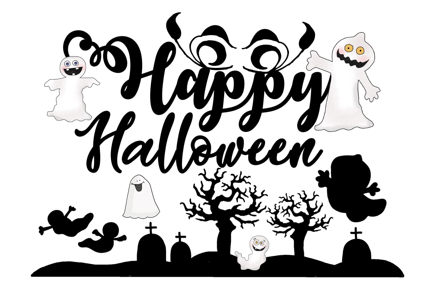 Halloween saying signs clipart black and white svg stock 40 Halloween Sayings, Signs with Images - Print or Download svg stock