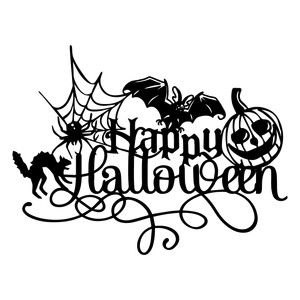 Halloween saying signs clipart black and white jpg royalty free download Silhouette Design Store - View Design #154270: happy halloween ... jpg royalty free download