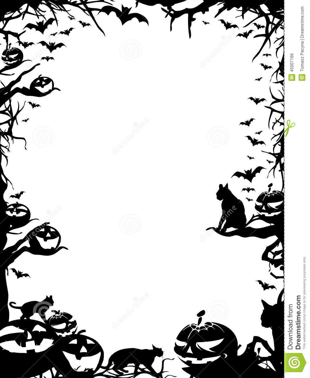 Halloween saying signs clipart black and white image stock free halloween borders printable - Google Search | Halloween Ideas ... image stock