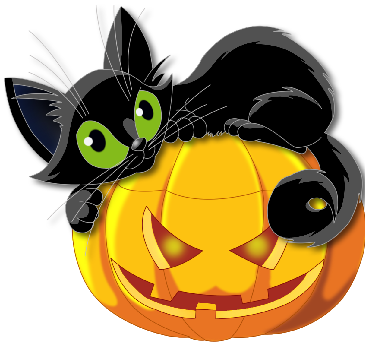 Halloween scared cat clipart clip art black and white library Halloween Black Cats PNG Transparent Halloween Black Cats.PNG Images ... clip art black and white library