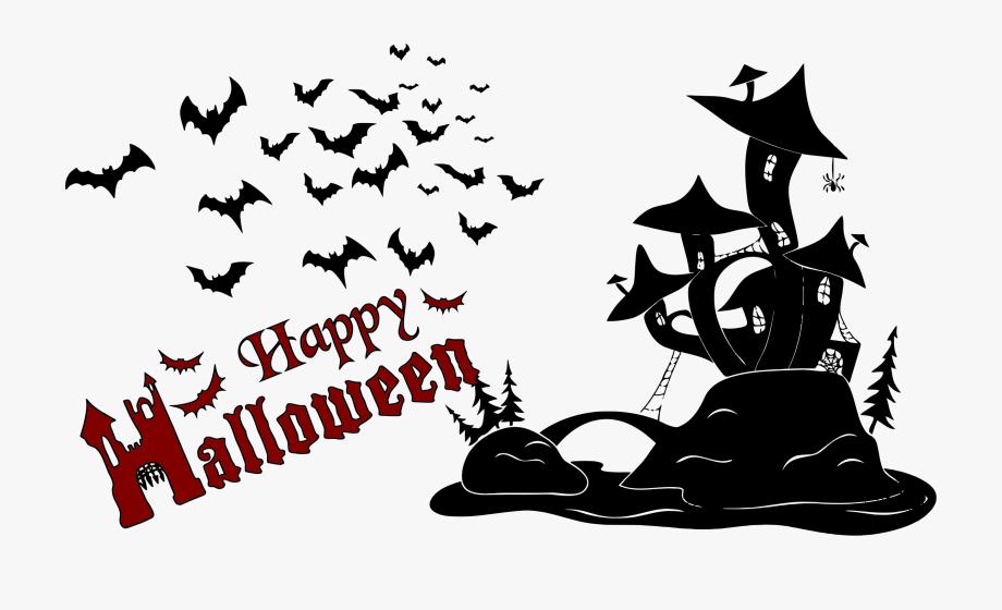 Halloween scene silhouettes clipart banner transparent stock Happy Halloween Scene Silhouette - Small Happy Halloween Clip Art ... banner transparent stock