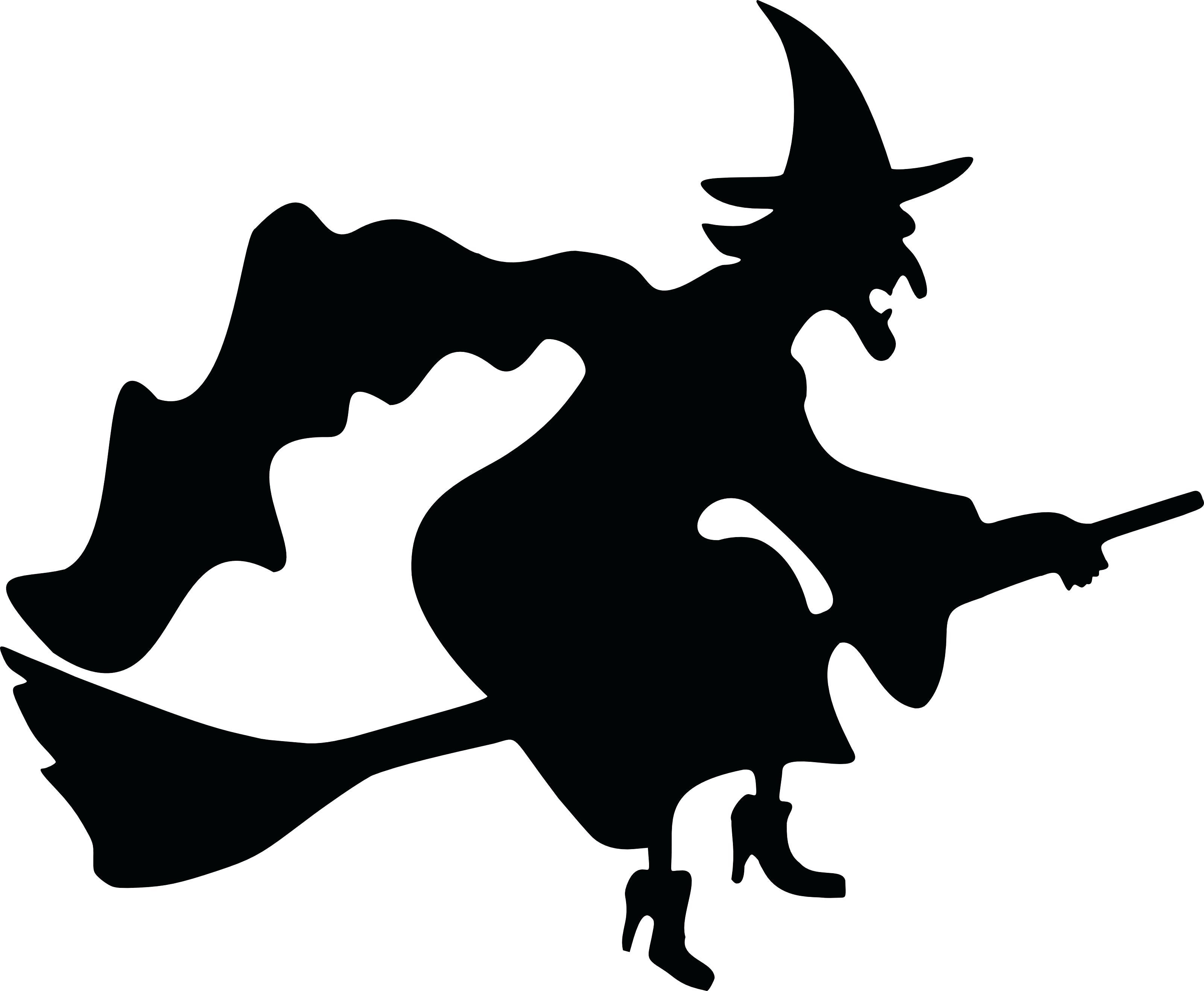 Halloween scene silhouettes clipart png library download Best Halloween Witch Silhouette Cdr » Free Vector Art, Images ... png library download
