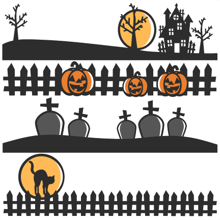 Halloween scene silhouettes clipart library Halloween Scene Borders SVG scrapbook cut file cute clipart files ... library