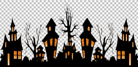 Halloween scene silhouettes clipart clip art black and white download Second Life Marketplace - Cartoonish Halloween Scene Vector - Full ... clip art black and white download