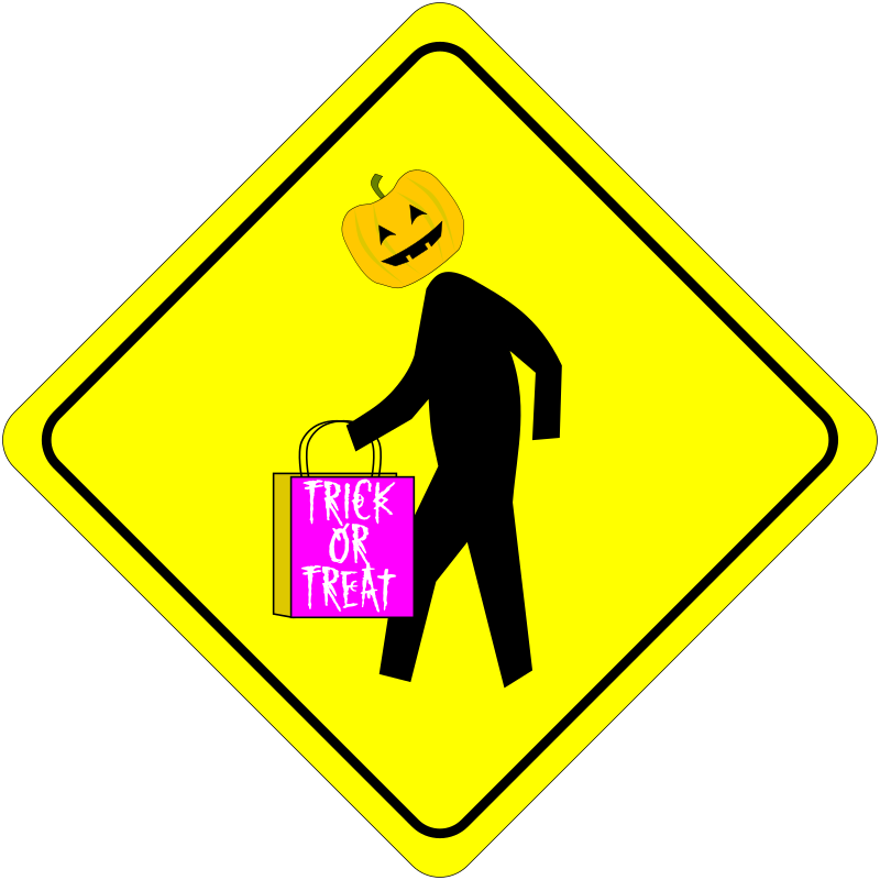 Halloween sign clipart graphic freeuse library Clipart - Halloween Pedestrian Caution Sign graphic freeuse library