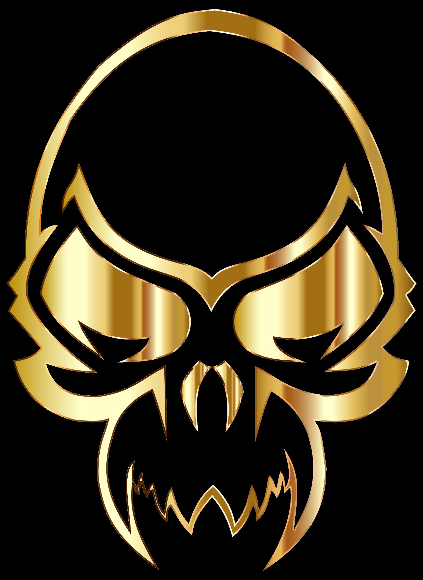 Halloween skeleton head clipart banner Clipart - Golden Skull banner
