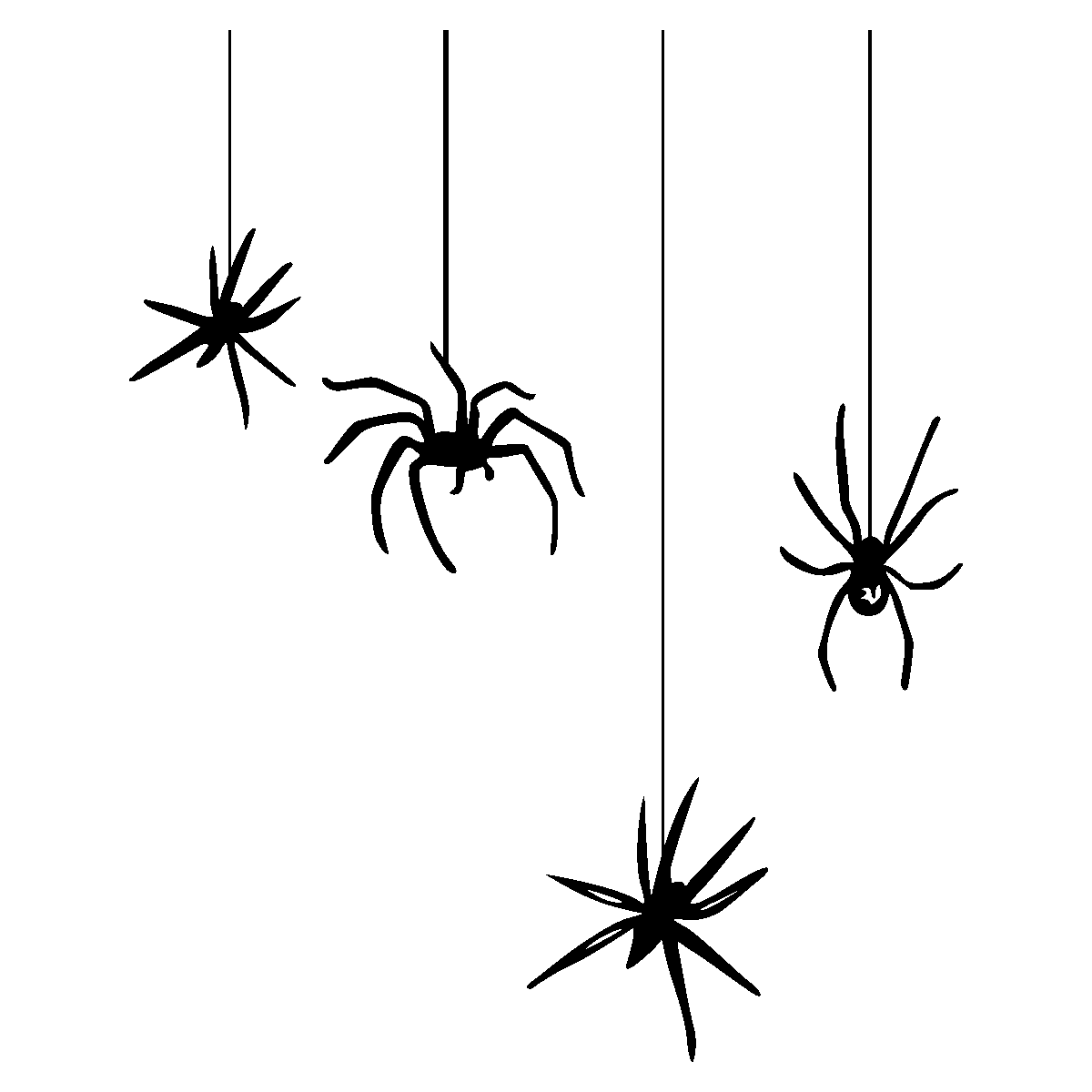 Halloween spiders hanging from web clipart image black and white stock 28+ Collection of Halloween Hanging Spider Clipart | High quality ... image black and white stock
