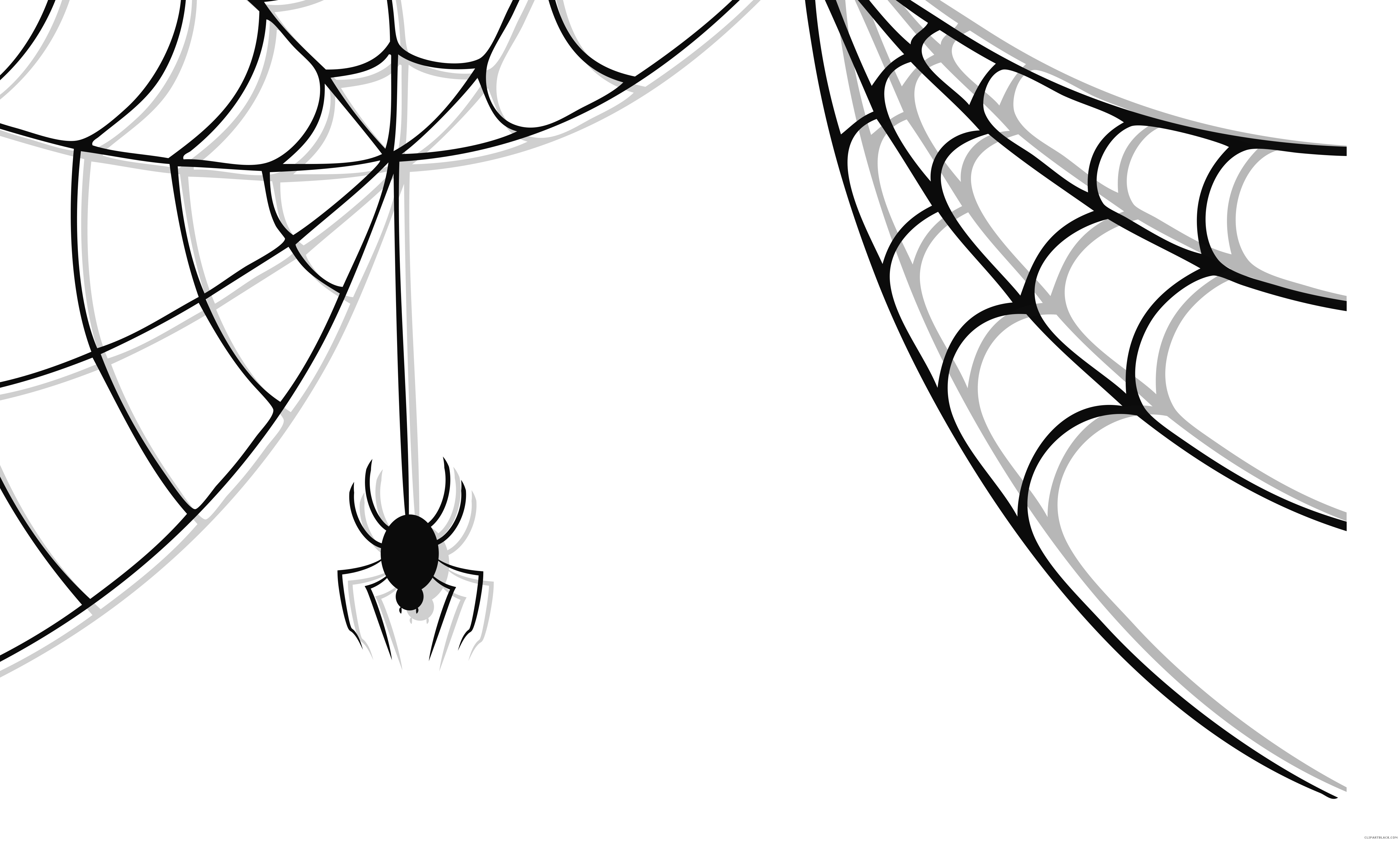 Halloween spiders hanging from web clipart banner Cute Spider Web Animal free black white clipart images clipartblack ... banner