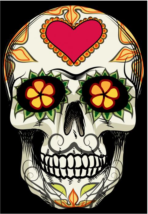 Sugar skull pumpkin clipart svg black and white Sticker Calavera - Tete De Mort Mexicaine 18 - ref.d7456 | MPA Déco ... svg black and white