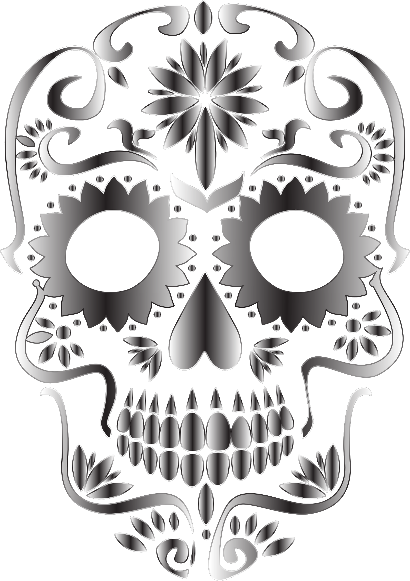 Halloween sugar skull clipart clipart free Monochrome Sugar Skull Silhouette No Background Icons PNG - Free PNG ... clipart free