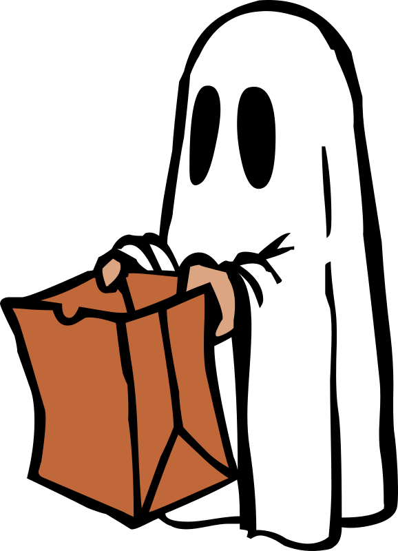 Halloween trick or treat bag clipart clipart stock Clipart - Ghost with bag (colour) clipart stock