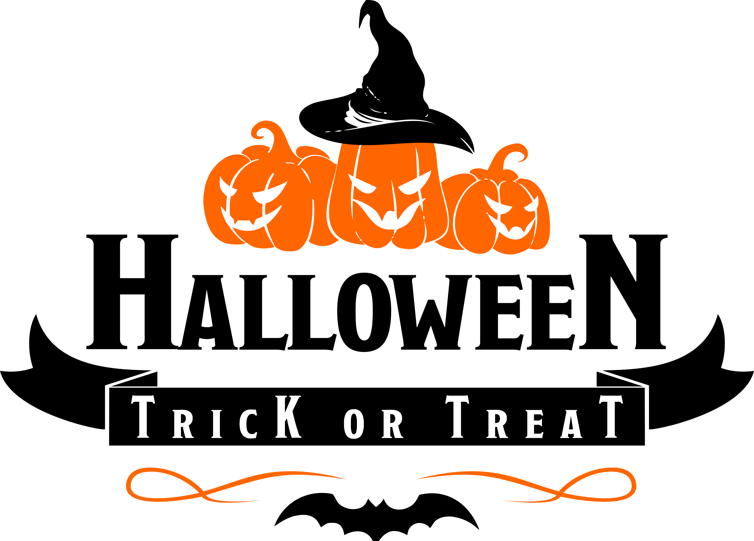 Halloween trick or treat clipart banner library library Clipart - Halloween - Trick or Treat Logo banner library library
