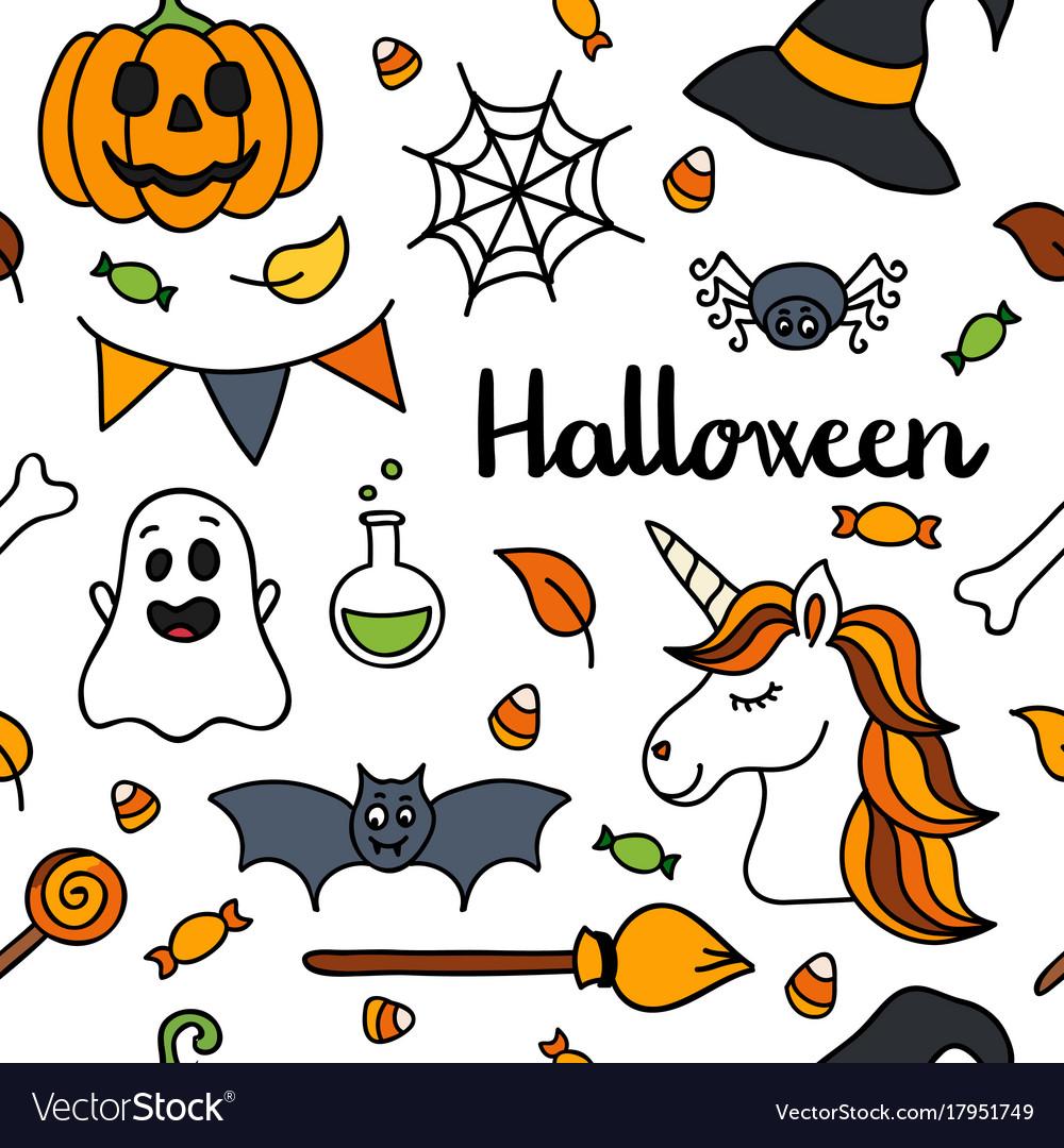 Halloween unicorn clipart clipart black and white Halloween seamless pattern autumn unicorn vector image clipart black and white