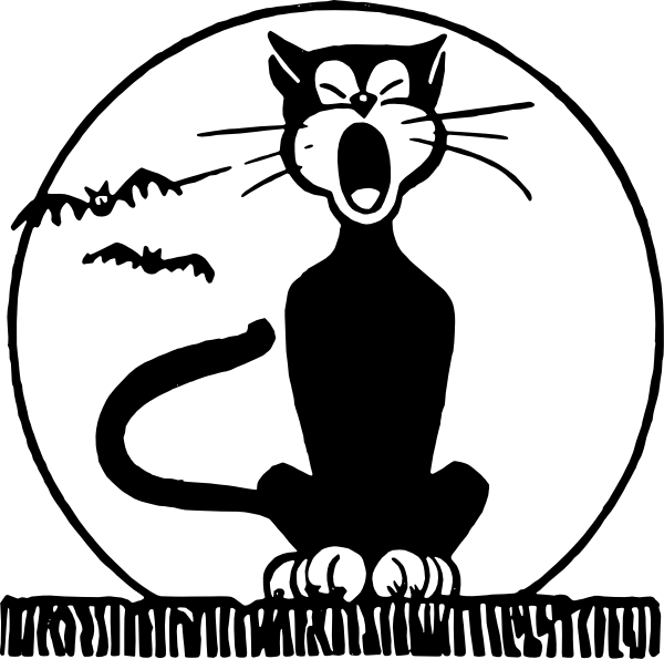 Vintage halloween clipart black and white cat picture transparent stock http://www.clker.com/cliparts/4/H/Y/f/o/8/black-cat-and-moon-hi.png ... picture transparent stock