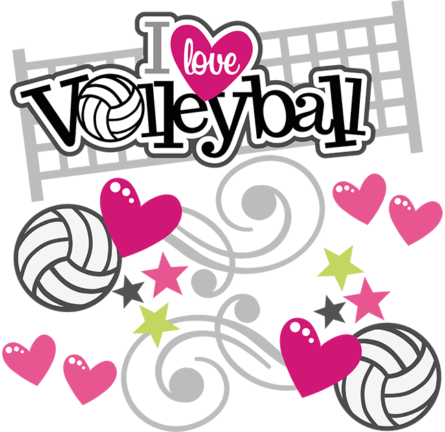 Halloween volleyball clipart jpg black and white download I Love Volleyball - SVG Scrapbooking Files | Cuttable Scrapbook SVG ... jpg black and white download