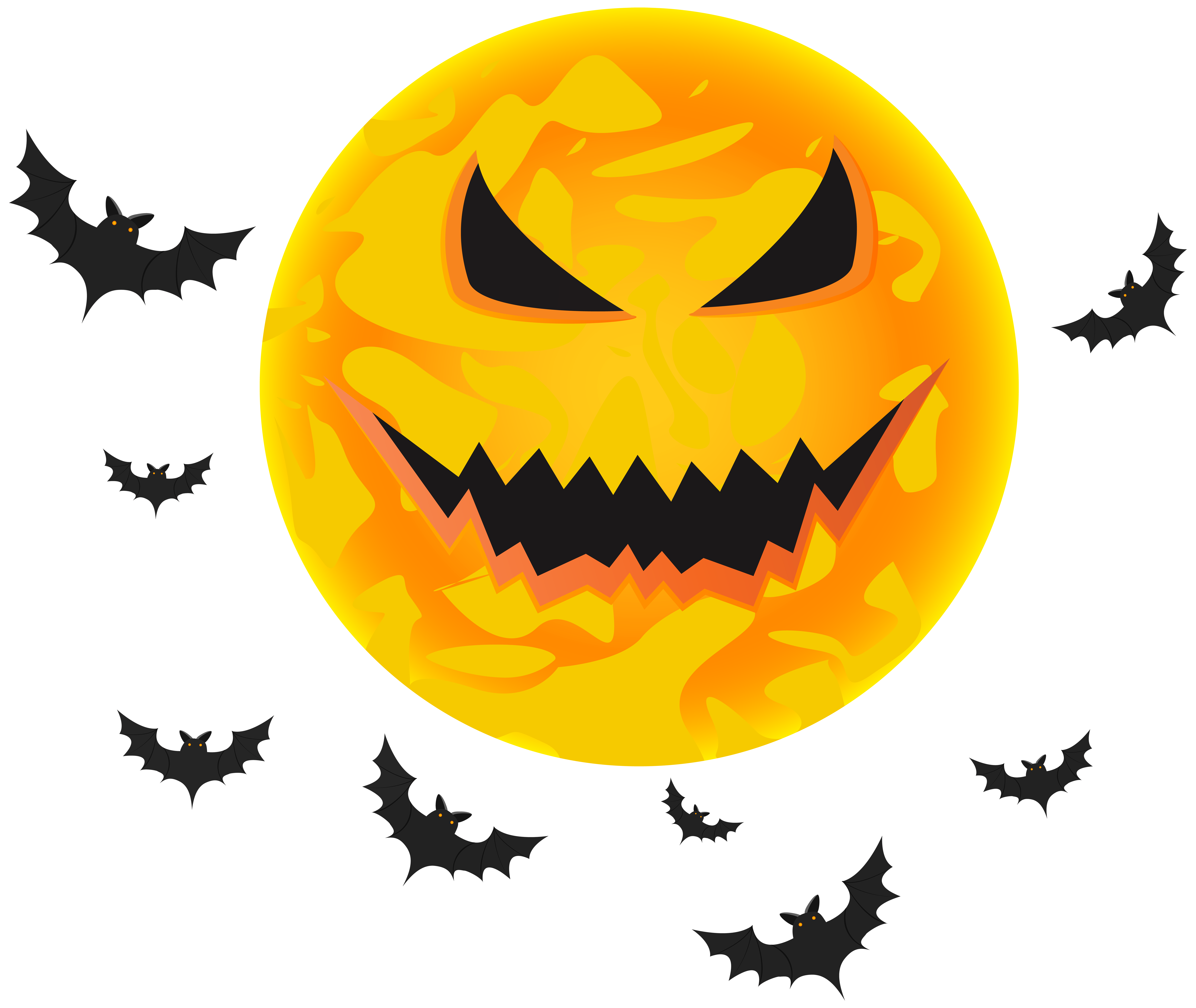 Halloween wallpaper clipart graphic free Halloween Yellow Moon and Bats Transparent Clip Art Image | Gallery ... graphic free