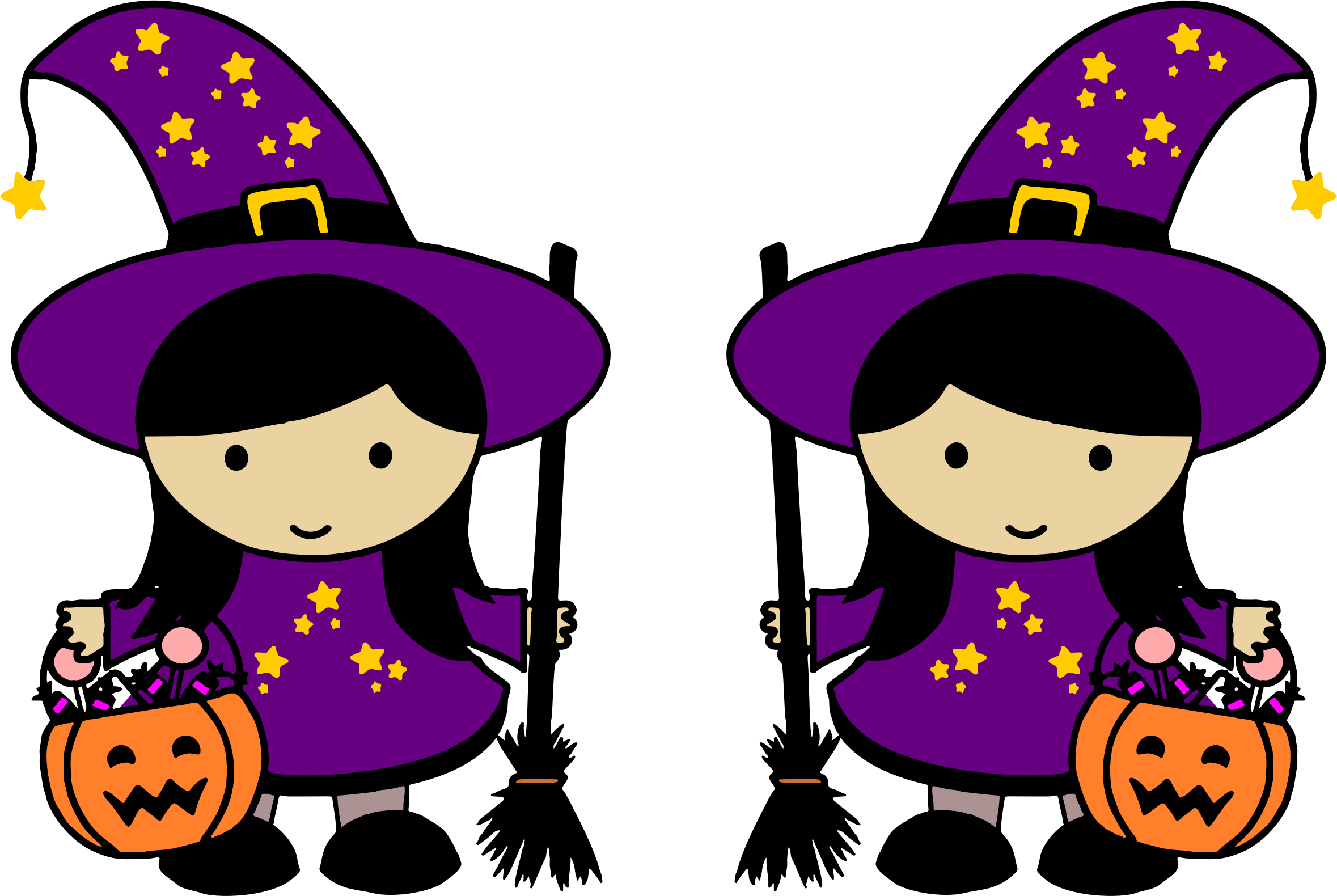 Halloween witches clipart svg stock Clipart - Twin Halloween Witches svg stock