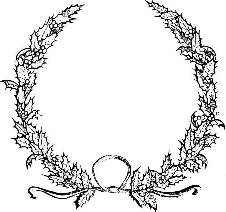 Halloween wreath clipart clip black and white stock Collection of Christmas Wreath Cliparts | Buy any image and use it ... clip black and white stock