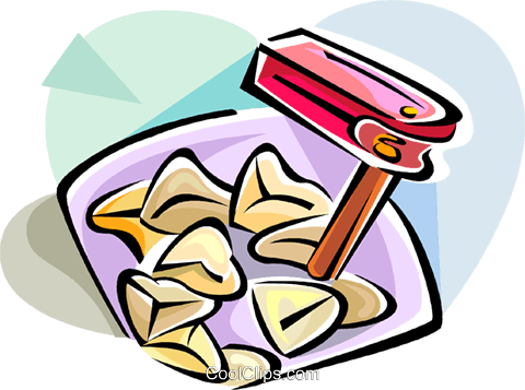 Hamantasch clipart image freeuse Hebrew Purim rattle and hamantaschen Royalty Free Vector Clip Art ... image freeuse