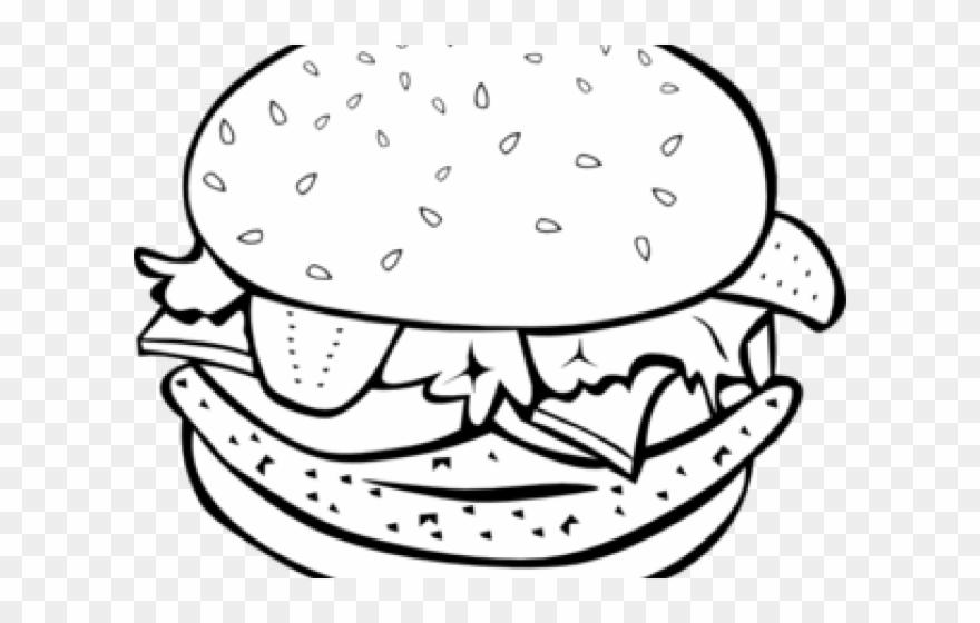 Hamburger clipart black and white jpg royalty free download Hamburger Clipart Coloring Book - Burger Images For Coloring - Png ... jpg royalty free download