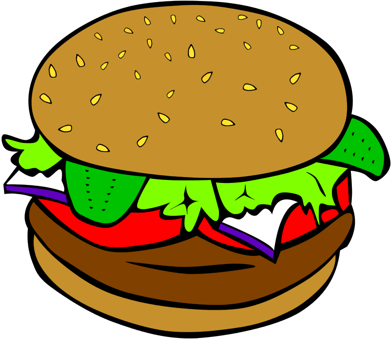 Hamburger free clipart svg freeuse download Free Clipart: Fast Food, Lunch-Dinner, Hamburger no cheese | chad78 svg freeuse download